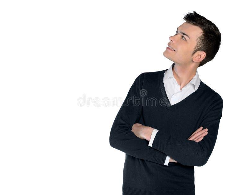 Hombre joven que mira para arriba fotografía de archivo