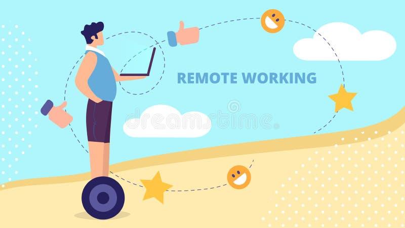 Hombre joven que monta Hoverboard con el ordenador port?til en manos libre illustration