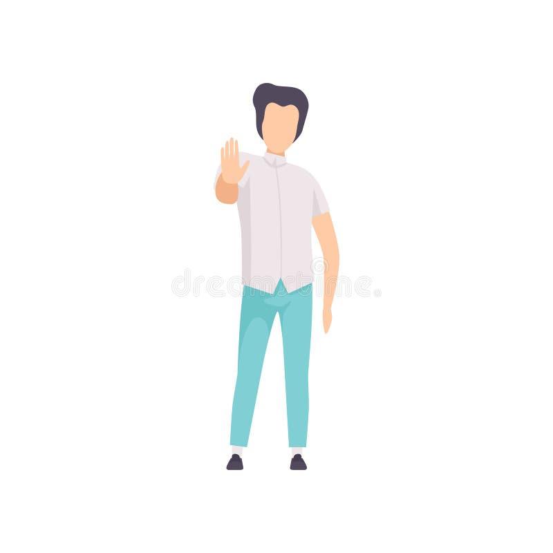 Hombre joven que muestra el gesto de la palma de la mano, muestra de la parada, carácter anónimo del individuo que gesticula el e libre illustration