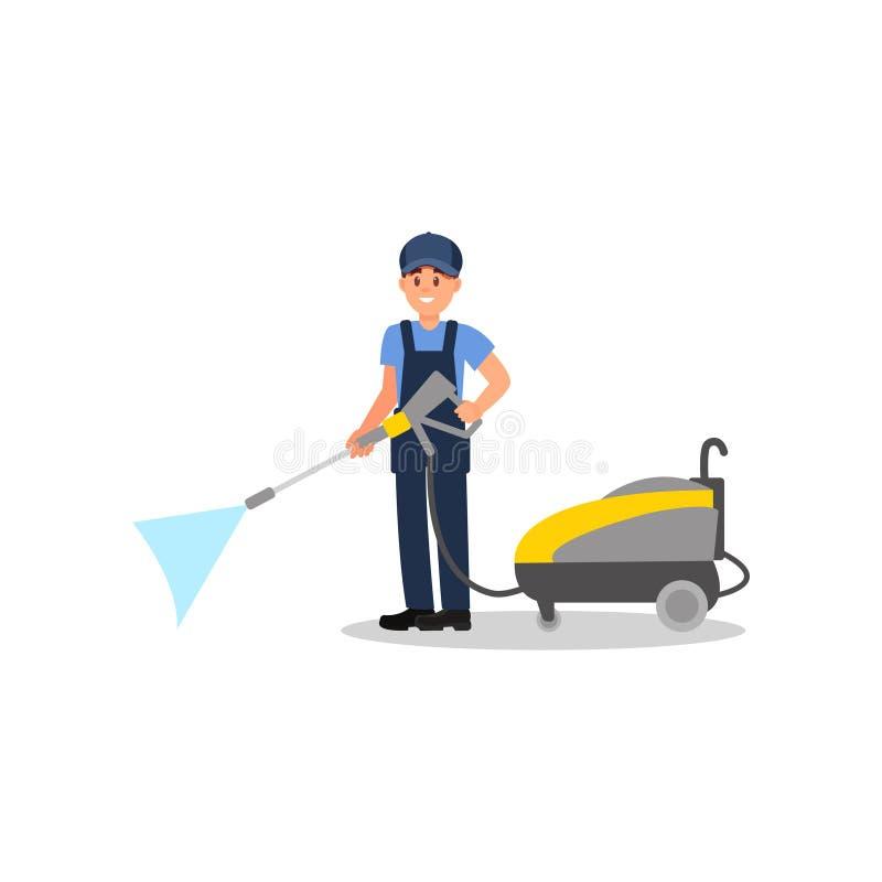 Hombre joven que presenta con la máquina de la limpieza del jet Limpiador profesional en el trabajo Individuo sonriente en unifor ilustración del vector