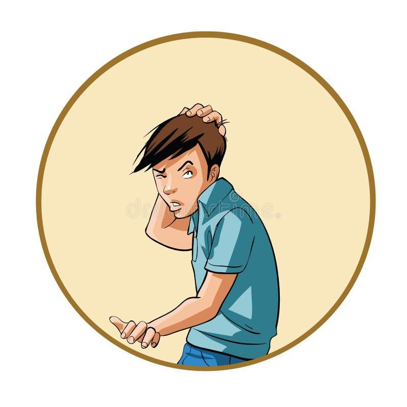 Hombre joven que rasguña su cabeza libre illustration