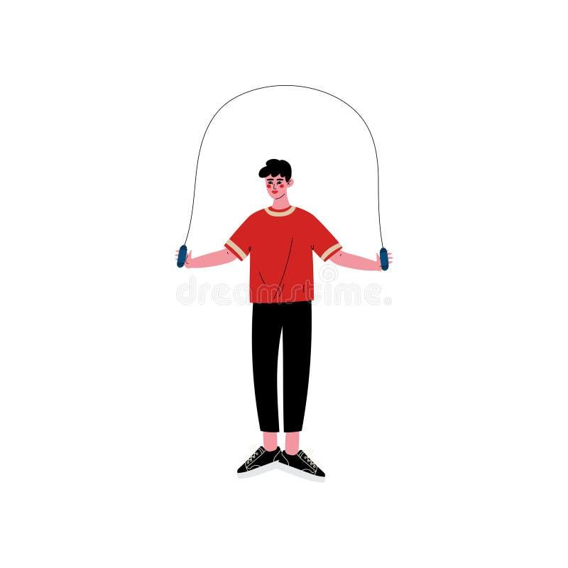 Hombre joven que salta con la comba, atleta de sexo masculino Character en la ropa de deportes, entrenamiento físico del entrenam stock de ilustración