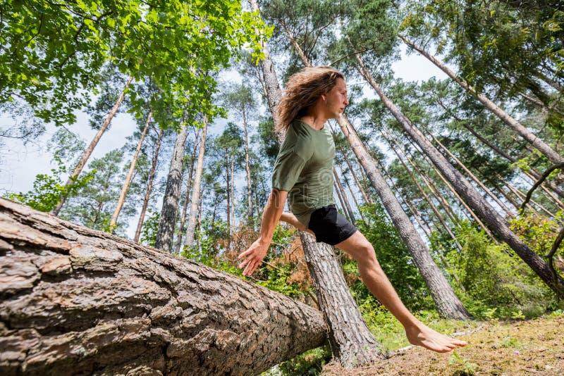 Hombre joven que salta sobre un tronco de árbol en el bosque imagenes de archivo