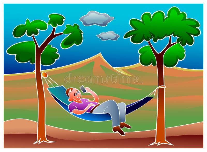 Hombre joven que se relaja en hamaca en el parque libre illustration