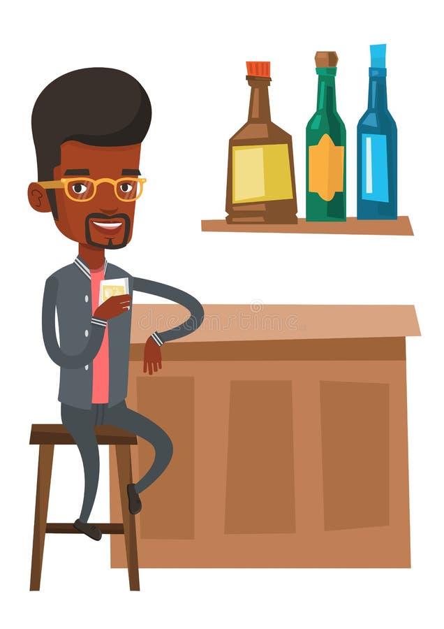 Hombre joven que se sienta en el contador de la barra stock de ilustración