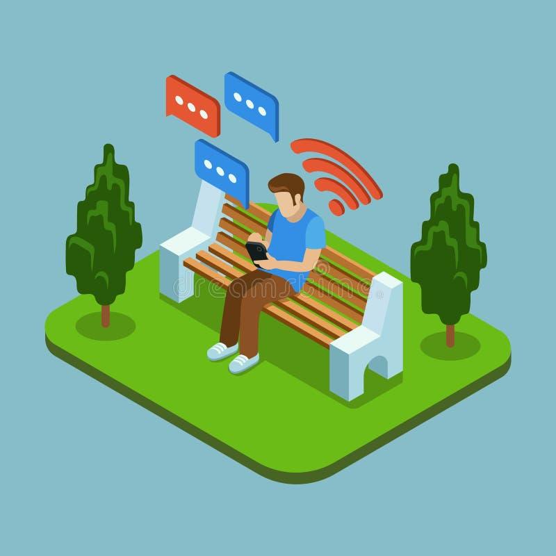Hombre joven que se sienta en el parque y que envía mensajes con smartphone Ejemplo isométrico del vector 3d stock de ilustración