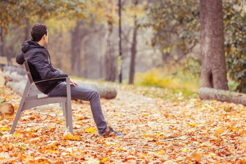 Hombre joven que se sienta en un banco en un parque foto de archivo libre de regalías