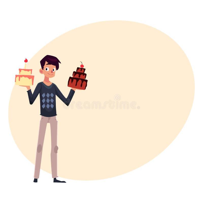 Hombre Joven Que Sostiene Las Tortas De Cumpleaños, Consiguiendo ...