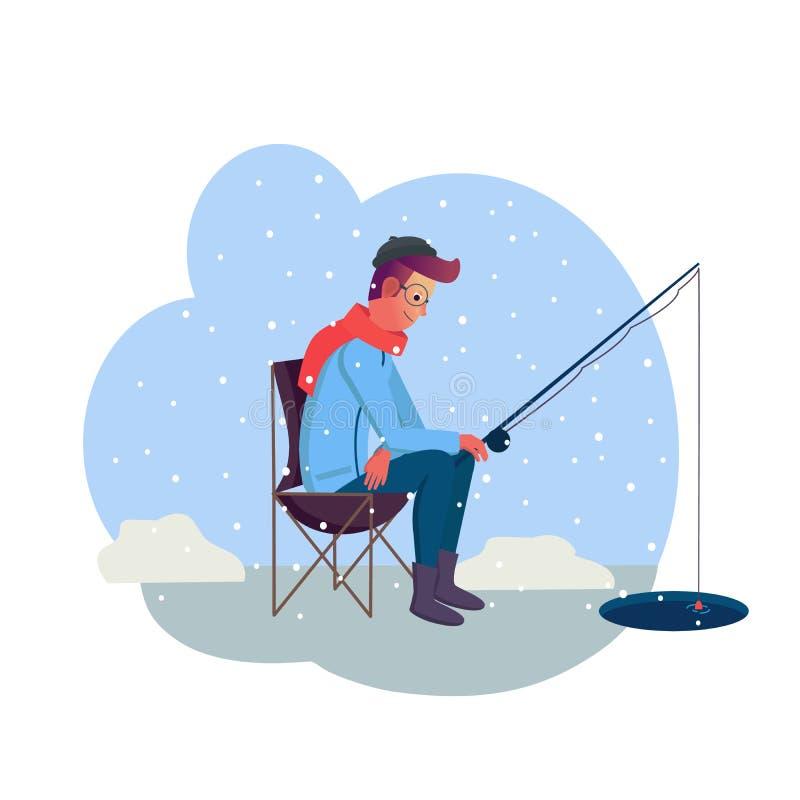 Hombre joven que sostiene trole en la pesca del invierno con nieve en fondo Estilo plano del diseño Carácter del hombre el día de stock de ilustración