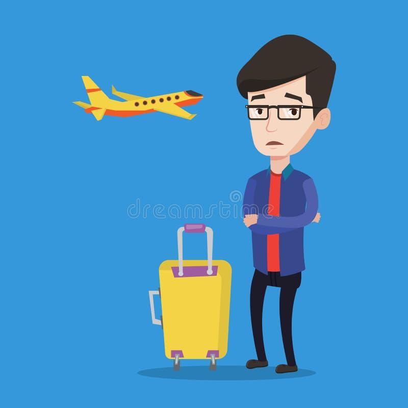 Hombre joven que sufre del miedo del vuelo stock de ilustración