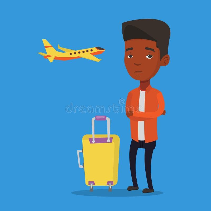 Hombre joven que sufre del miedo del vuelo libre illustration