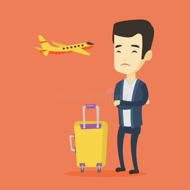 Hombre joven que sufre del miedo del vuelo ilustración del vector