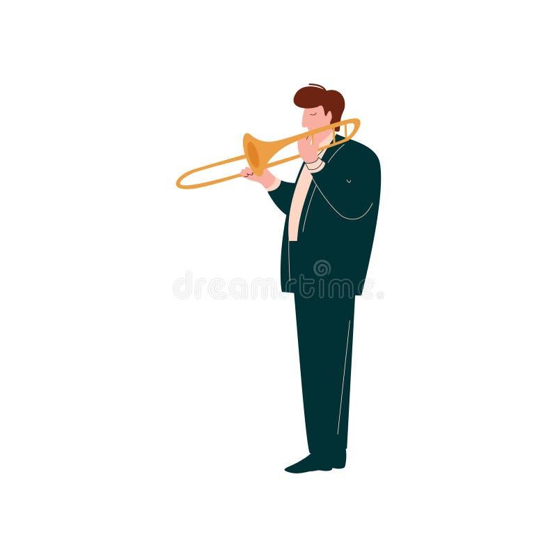 Hombre joven que toca la trompeta, músico de sexo masculino Trumpeter Player con el ejemplo clásico del vector del instrumento mu ilustración del vector