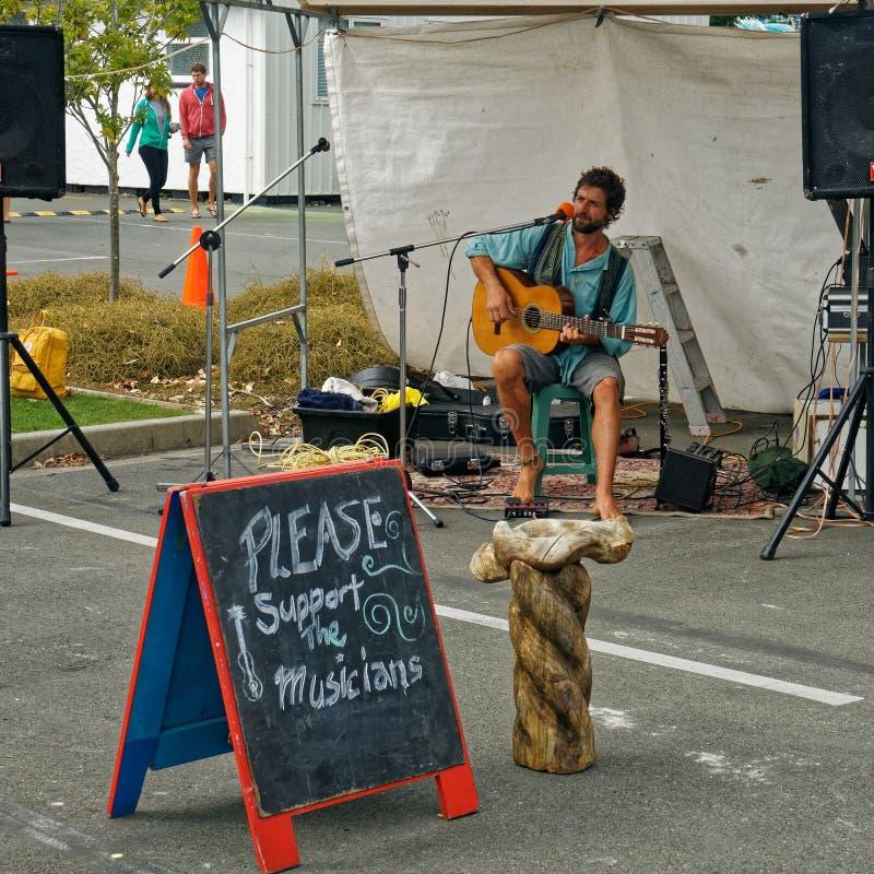 Hombre joven que toca una guitarra, busking en el mercado de Takaka, bahía de oro, Nueva Zelanda fotos de archivo libres de regalías