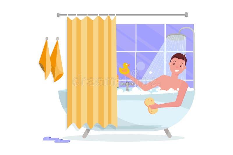 Hombre joven que toma la ba?era con espuma de la burbuja Interior del hogar del cuarto de ba?o con el ba?o en teja con la cortina libre illustration