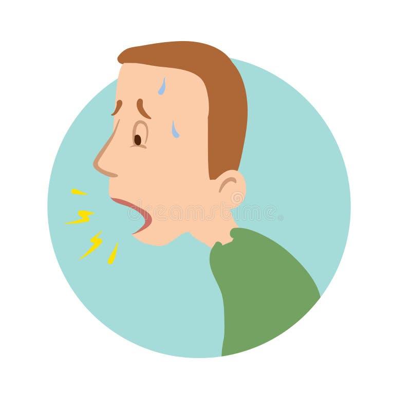 Hombre joven que tose, falta de aire, icono de la enfermedad Ejemplo plano del vector, aislado en blanco libre illustration
