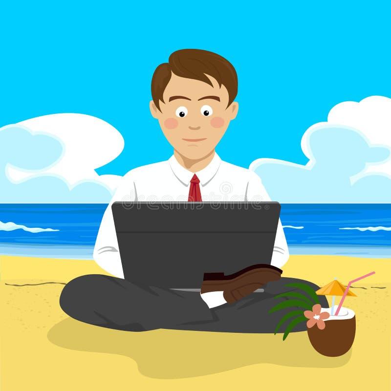 Hombre joven que trabaja con el ordenador portátil en la playa tropical en postura del loto ilustración del vector