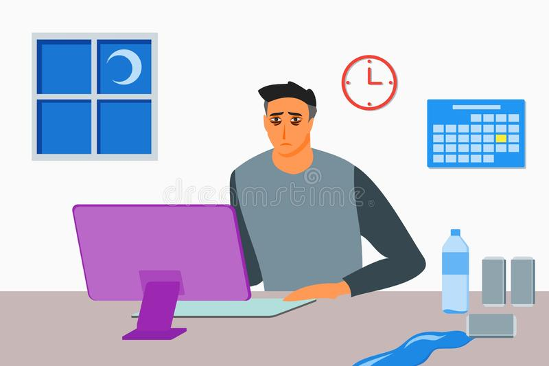 Hombre joven que trabaja hasta de última hora stock de ilustración