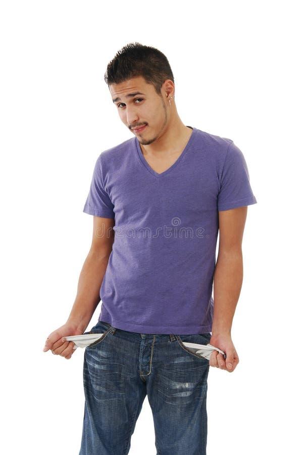Hombre joven sin dinero foto de archivo libre de regalías