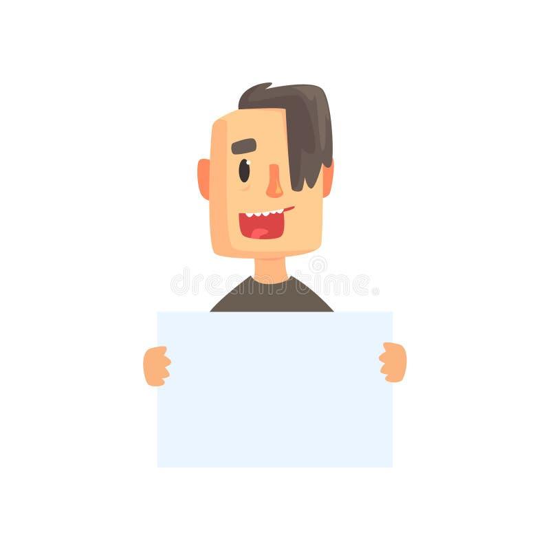 Hombre joven sonriente con el pedazo de papel en blanco Carácter del individuo de la historieta en camiseta negra con corte de pe libre illustration