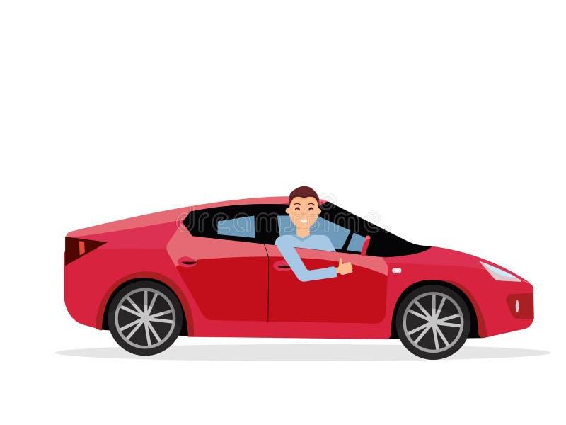 Hombre joven sonriente dentro de su coche Conductor amistoso en la rueda del coche Coche rojo de la conducción a la derecha Vista libre illustration