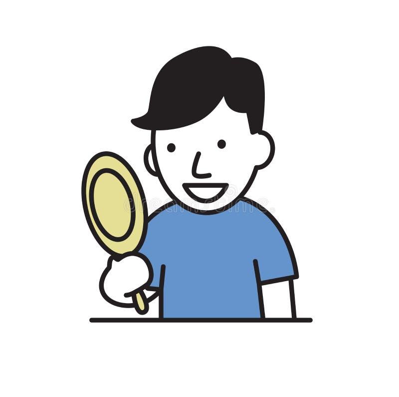 Hombre joven sonriente que mira su reflexión en el espejo Ejemplo plano del vector Aislado en el fondo blanco stock de ilustración