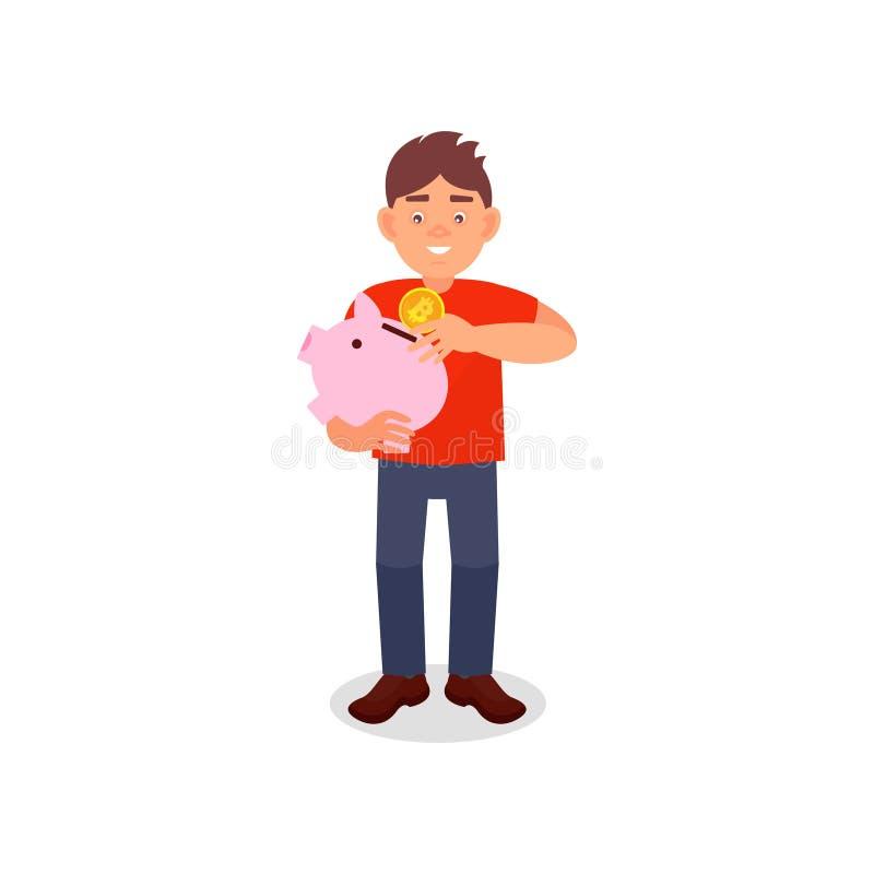 Hombre joven sonriente que sostiene la hucha que pone el dinero de la moneda en él, concepto de los ahorros del dinero, tecnologí ilustración del vector