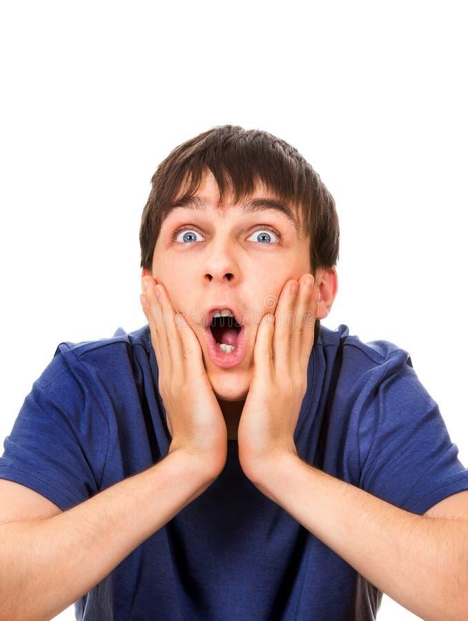Hombre joven sorprendido foto de archivo