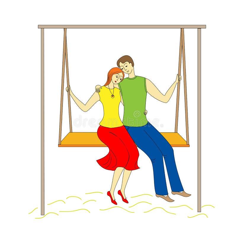 Hombre joven y muchacha de los pares que balancean en un oscilación Amor feliz illustation del vector ilustración del vector