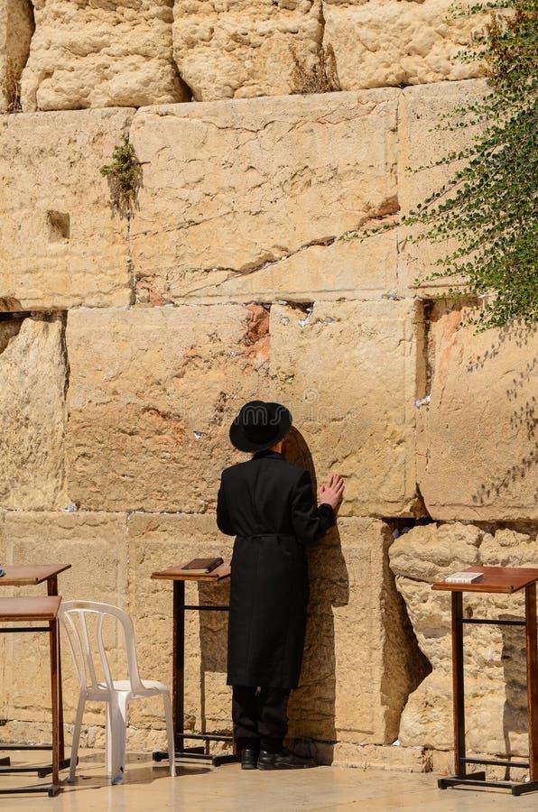 Hombre jud?o ortodoxo que ruega en la pared occidental en Jerusal?n, Israel fotografía de archivo libre de regalías