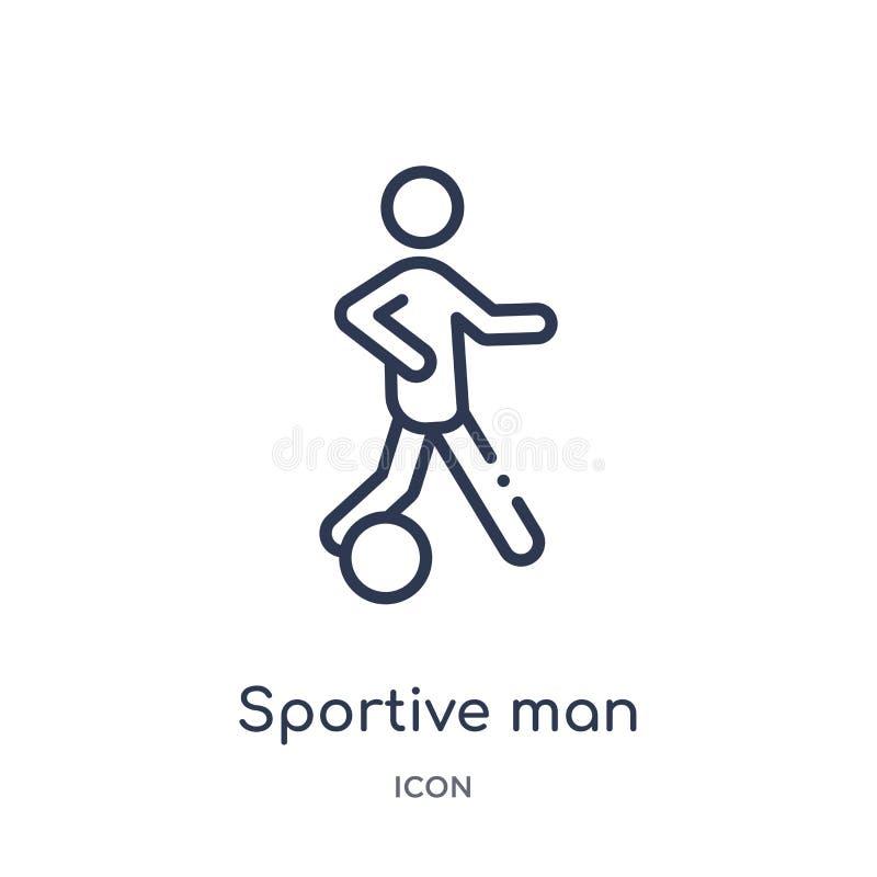 hombre juguetón que juega con un icono de la bola de la colección del esquema de los deportes Línea fina hombre juguetón que jueg ilustración del vector