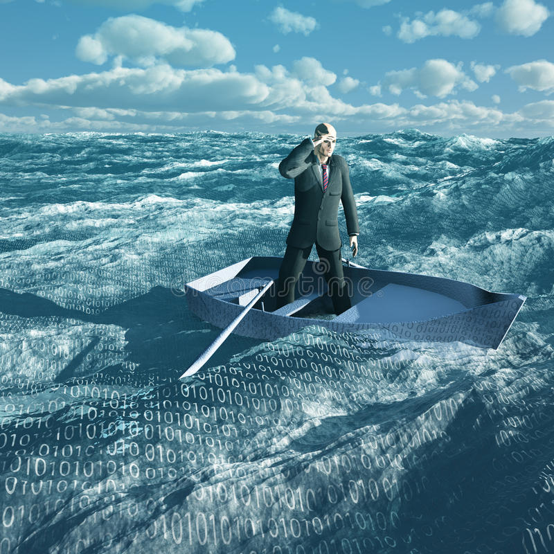 Hombre a la deriva en el océano binario ilustración del vector
