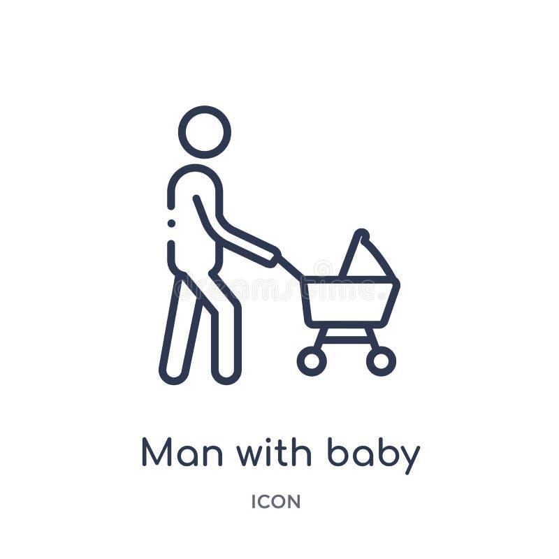 Hombre linear con el icono del cochecito de bebé de la colección del esquema del comportamiento Juez de línea fino con vector del stock de ilustración