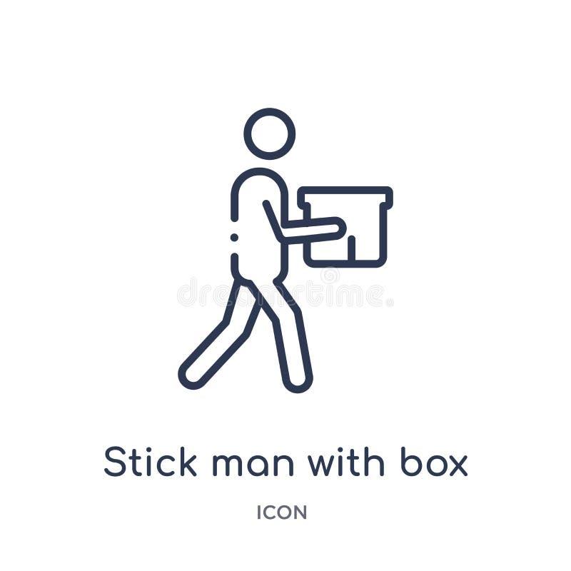 Hombre linear del palillo con el icono de la caja de la colección del esquema del comportamiento Línea fina hombre del palillo co ilustración del vector