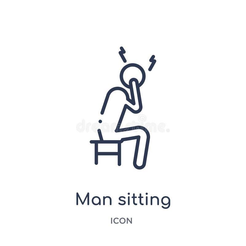 Hombre linear que se sienta con el icono del dolor de cabeza de la colección del esquema del comportamiento Juez de línea fino qu stock de ilustración