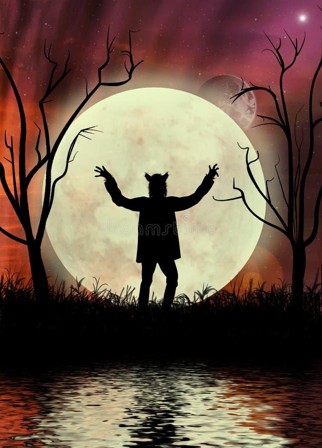 Hombre lobo con el cielo y el moonscape rojos imágenes de archivo libres de regalías