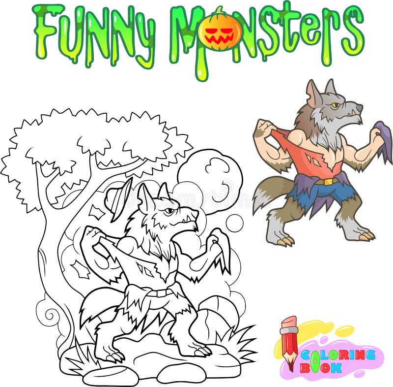 Hombre lobo divertido, ejemplo de libro de colorear de Halloween ilustración del vector