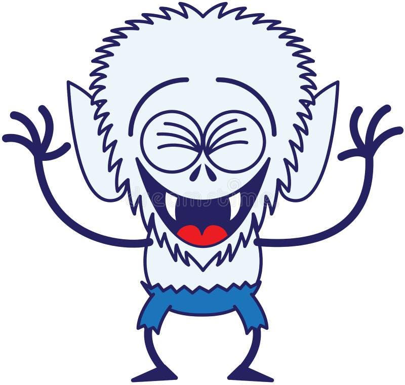Hombre lobo fresco de Halloween que ríe entusiasta stock de ilustración