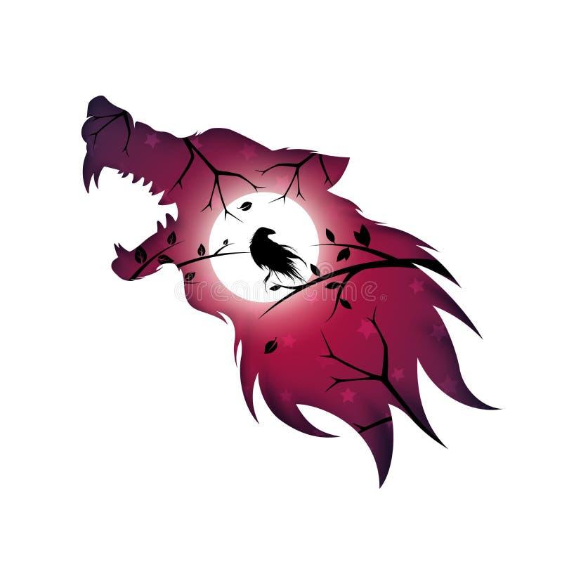 Hombre lobo, lobo, perro, cuervo, cuervo - ejemplo de papel ilustración del vector