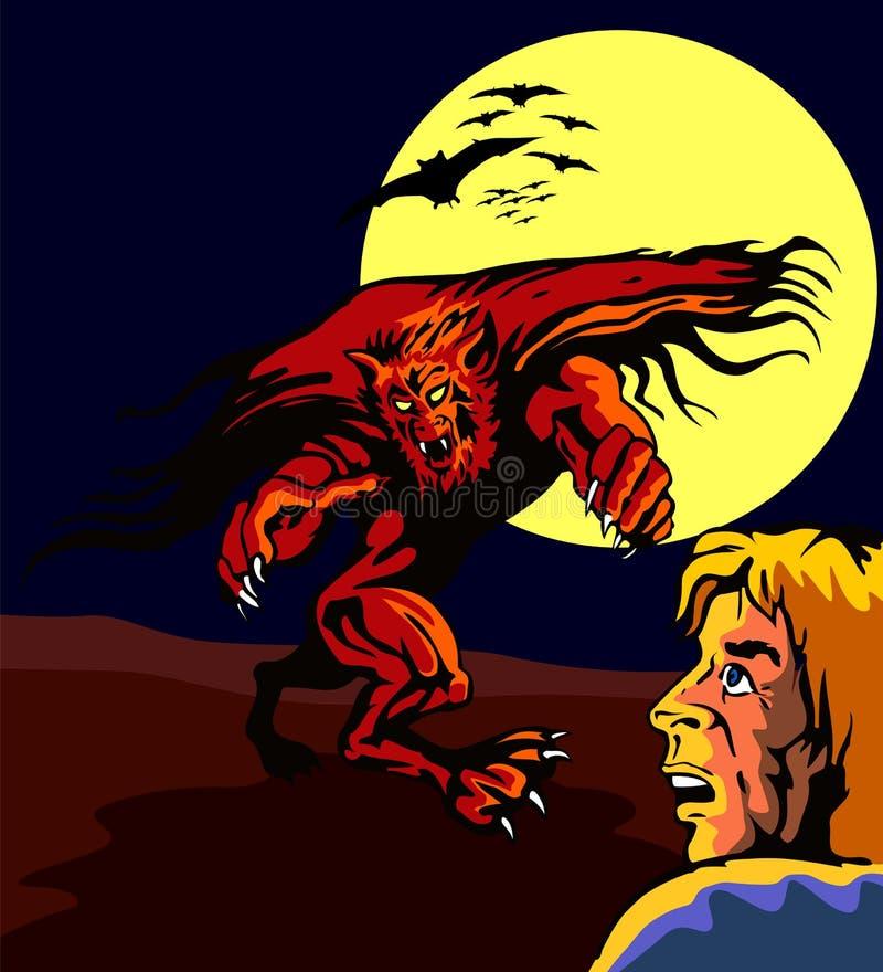 Hombre lobo que ataca a un tipo stock de ilustración