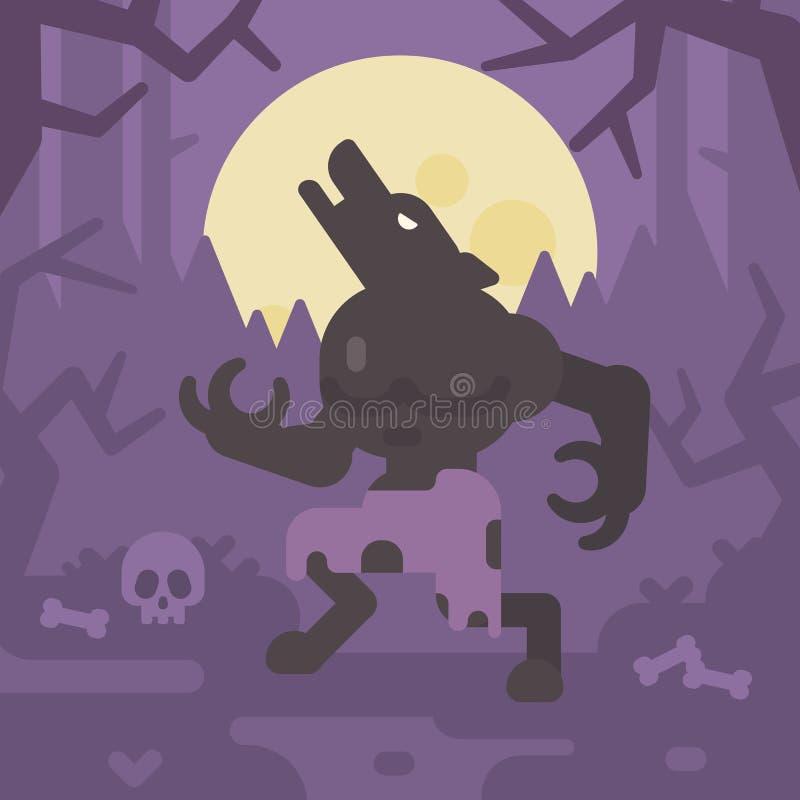 Hombre lobo que grita en la luna en un bosque oscuro en la noche libre illustration