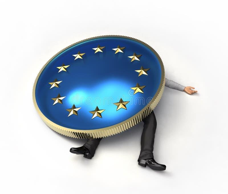 Hombre machacado por una crisis europea ilustración del vector