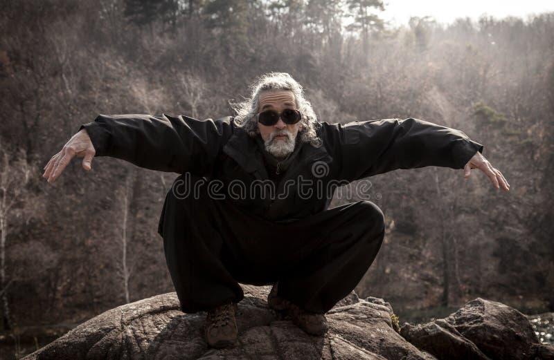 Hombre maduro que practica la disciplina de Tai Chi al aire libre imagen de archivo