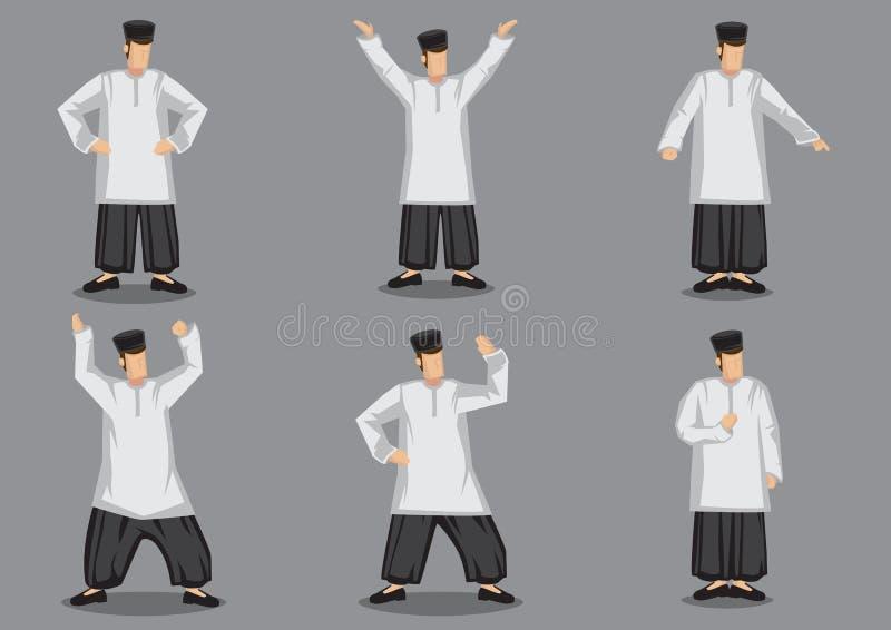Hombre malayo en el vector tradicional Illustr del diseño de carácter del traje libre illustration