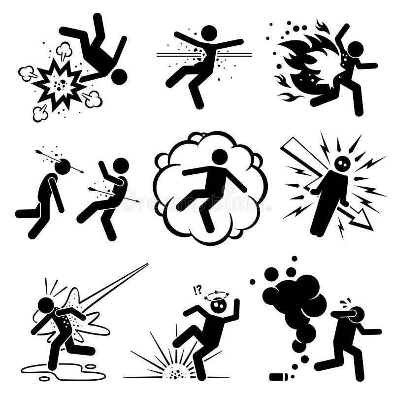 Hombre matado, tirado, y atacado por diverso tipo de armas stock de ilustración