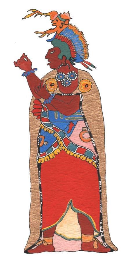 Hombre maya en capa y tocado del oro stock de ilustración