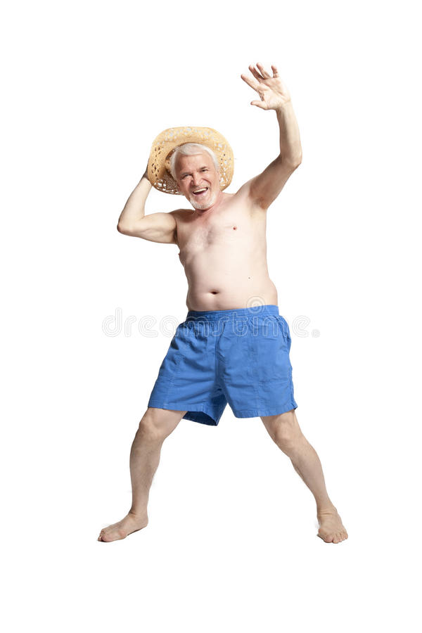 Hombre mayor activo feliz foto de archivo