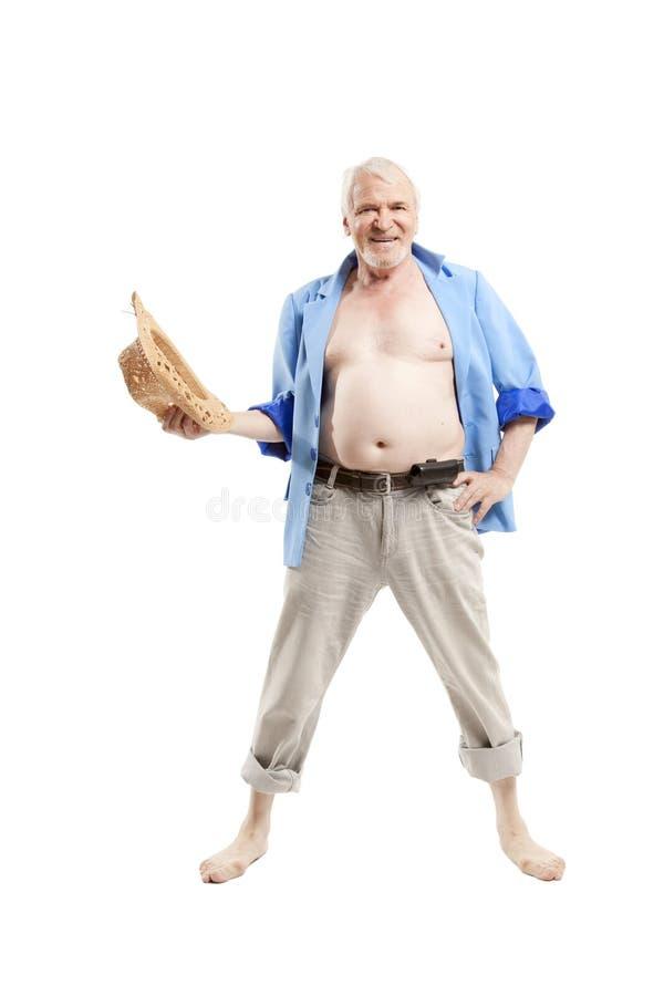Hombre mayor activo feliz fotografía de archivo