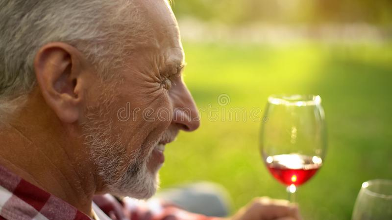 Hombre mayor alegre que sonríe y que sostiene la copa de vino, tostada que habla, aniversario imágenes de archivo libres de regalías