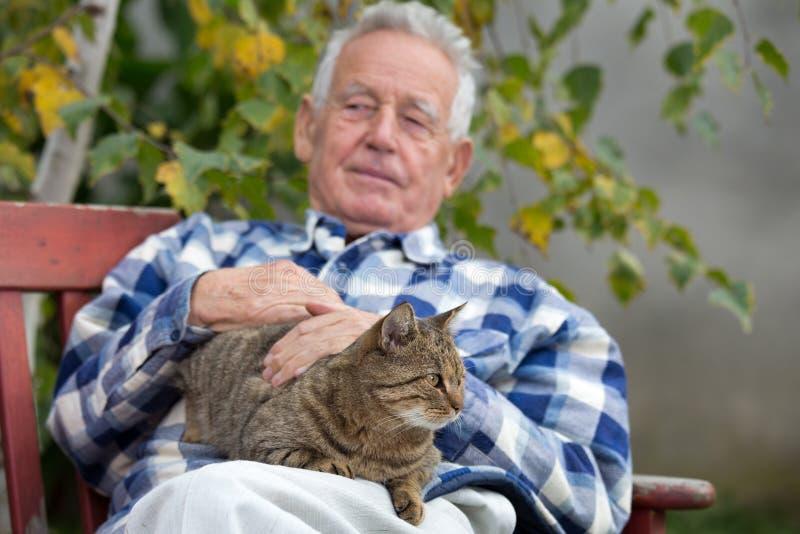 Hombre mayor con el gato en patio imagenes de archivo
